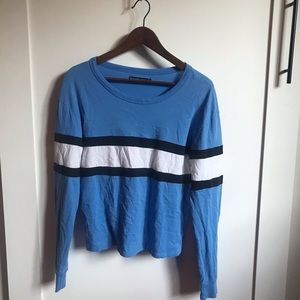 Abercrombie Blue and White Striped Long Sleeve Top